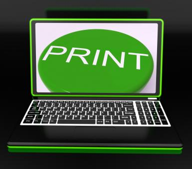 Free Stock Photo of Print On Monitor Showing Printer