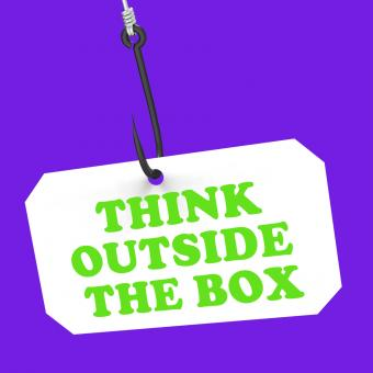 Free Stock Photo of Think Outside The Box On Hook Shows Imagination And Creativity