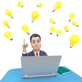 Free Stock Photo of Laptop Character Shows World Wide Web And Businessman 3d Rendering