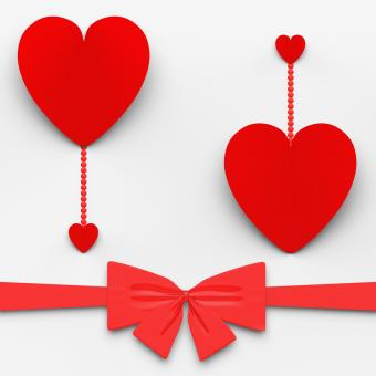 Free Stock Photo of Two Hearts With Bow Mean Loving Celebration Or Decoration