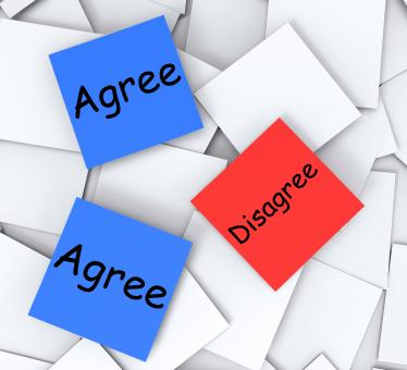 Free Stock Photo of Agree Disagree Post-It Notes Mean Opinion And Point Of View
