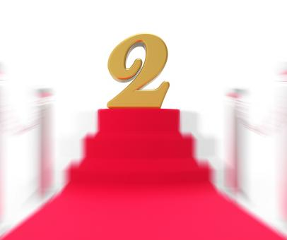 Free Stock Photo of Golden Two On Red Carpet Displays Movies Awards Or Second Place
