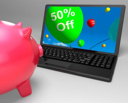 Free Stock Photo of Fifty Percent Off On Laptop Showing Cheap Products