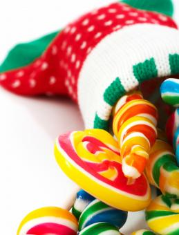 Free Stock Photo of Candies In A Christmas Sock