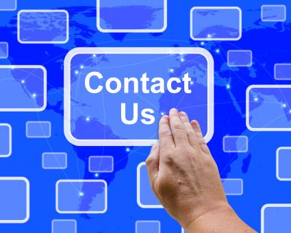 Free Stock Photo of Contact Us Button On Blue For Helpdesk Or Assistance