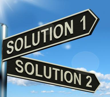 Free Stock Photo of Solution 1 or 2 Choice Showing Strategy Options Or Solving