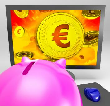 Free Stock Photo of Euro Coin Shows Finance Wealth And Savings