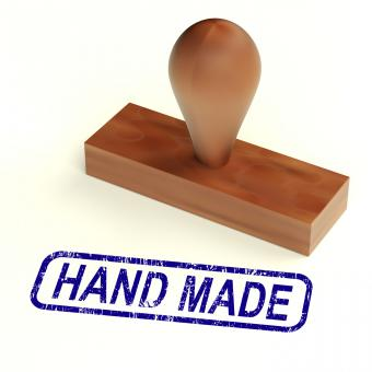 Free Stock Photo of Hand Made Rubber Stamp Shows Handmade Products
