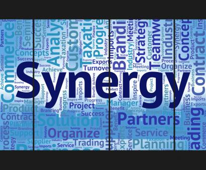 Free Stock Photo of Synergy Word Represents Work Together And Collaboration