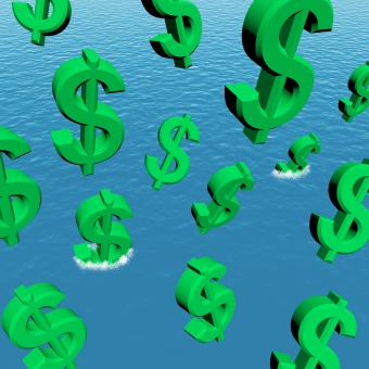 Free Stock Photo of Dollars Falling In The Ocean Showing Depression Recession And Economic
