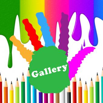 Free Stock Photo of Kids Gallery Shows Paint Colors And Artwork