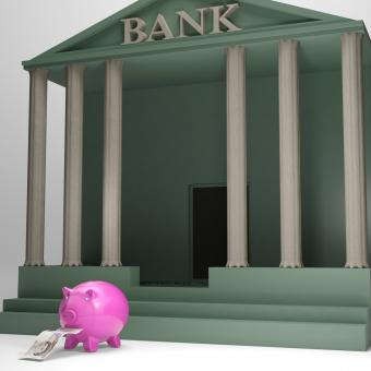 Free Stock Photo of Piggybank Leaving Bank Shows Money Withdrawal