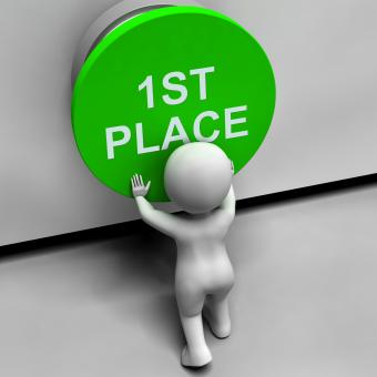 Free Stock Photo of First Place Button Shows 1st Place And Winner