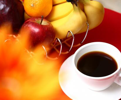 Free Stock Photo of Healthy Fruit With Coffee For Breakfast