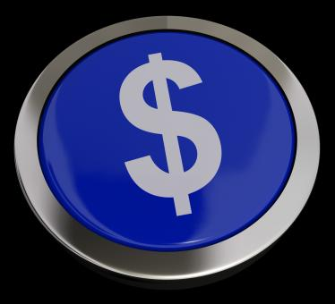 Free Stock Photo of Dollar Symbol Button In Blue Showing Money Or Investment