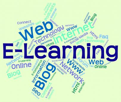 Free Stock Photo of Elearning Word Means World Wide Web And College