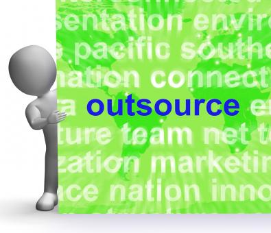 Free Stock Photo of Outsource Word Cloud Sign Shows Subcontract And Freelance