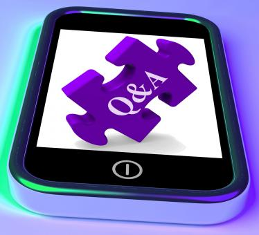 Free Stock Photo of Qa puzzle on mobile phone shows questions and answers