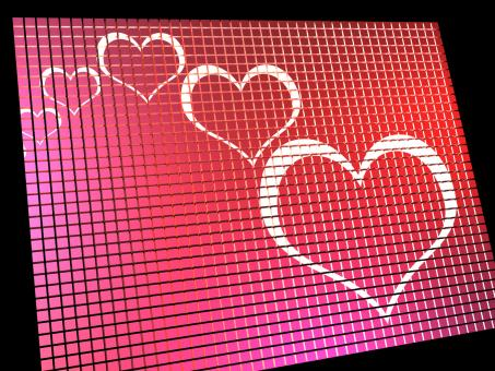 Free Stock Photo of Hearts On Computer Display Showing Love And Online Dating