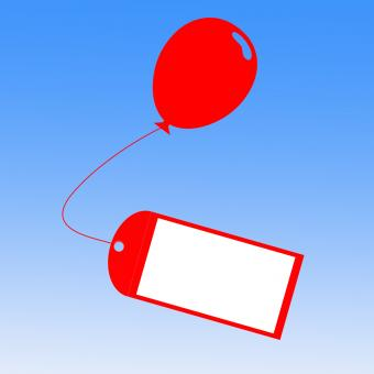 Free Stock Photo of Card Tied To Balloon Shows Greeting Card Or Party Invitation