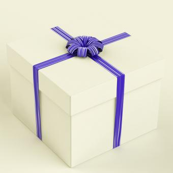 Free Stock Photo of White Gift Box With Blue Ribbon As Birthday Present For Man