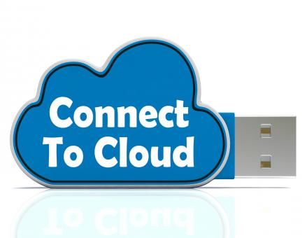 Free Stock Photo of Connect To Cloud Memory Stick Means Online File Storage