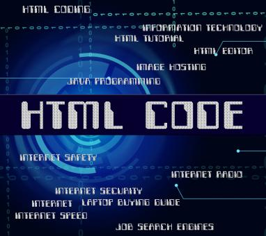 Free Stock Photo of Html Code Shows Hypertext Markup Language And Cipher