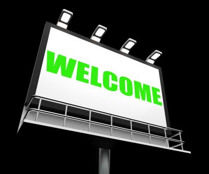 Free Stock Photo of Welcome Sign Shows Hospitality Entrance and Admittance