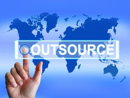 Free Stock Photo of Outsource Map Means International Subcontracting or Outsourcing
