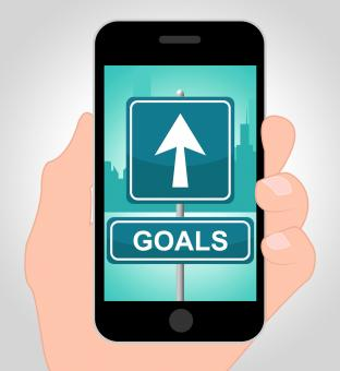 Free Stock Photo of Goals Online Means Mobile Phone And Aim
