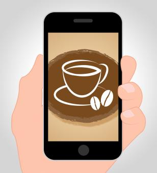 Free Stock Photo of Coffee Online Shows Mobile Phone And Beverages