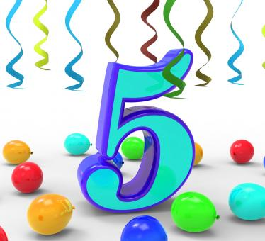 Free Stock Photo of Number Five Party Means Creativity Or Colourful Balloons