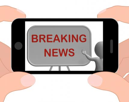 Free Stock Photo of Breaking News Phone Shows Major Developments And Bulletin