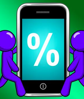 Free Stock Photo of Percent Sign On Phone Displays Percentage Discount Or Investment