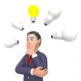 Free Stock Photo of Lightbulbs Businessman Indicates Power Sources And Character 3d Render