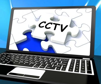 Free Stock Photo of CCTV Laptop Monitoring Shows Camera Protection Or Online Surveillance