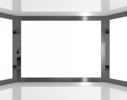 Free Stock Photo of Big TV Monitors With White Blank Copyspace Or Copy Space