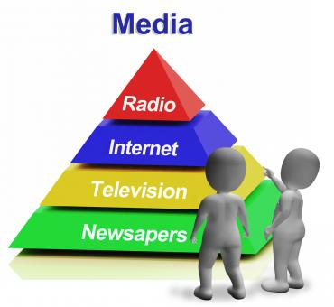 Free Stock Photo of Media Pyramid Having Internet Television Newspapers And Radio
