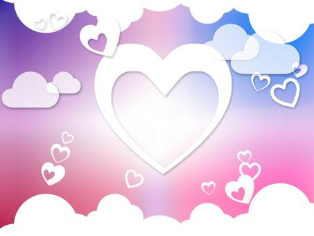 Free Stock Photo of Hearts And Clouds Background Means Romantic Dreams And Feelings