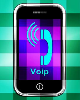 Free Stock Photo of Voip On Phone Displays Voice Over Internet Protocol Or Ip Telephony