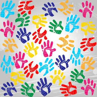 Free Stock Photo of Handprints Colourful Means Drawing Colors And Painted
