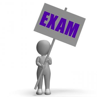 Free Stock Photo of Exam Protest Banner Means Difficult Examinations And Tests