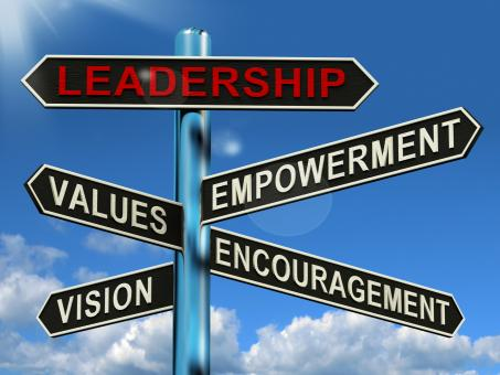 Free Stock Photo of Leadership Signpost Showing Vision Values Empowerment and Encouragemen