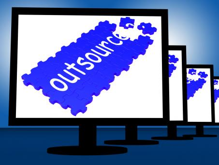 Free Stock Photo of Outsource On Monitors Shows Subcontracts