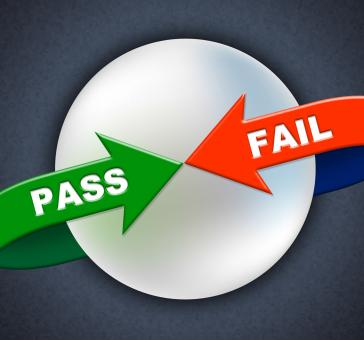 Free Stock Photo of Pass Fail Arrows Shows Ratified Failure And Passed