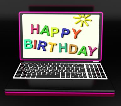 Free Stock Photo of Happy Birthday On Laptop Shows Online Greetings