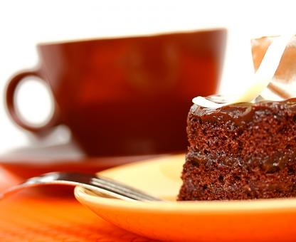 Free Stock Photo of Delicious Piece Of Moist Chocolate Cake With Coffee