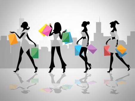 Free Stock Photo of Shopping Women Shows Retail Sales And Adult
