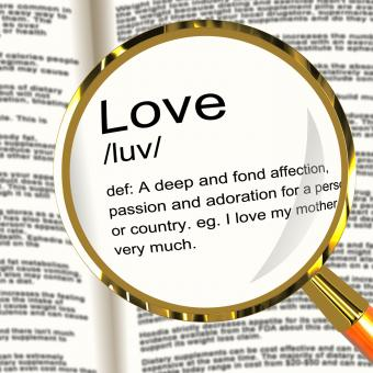Free Stock Photo of Love Definition Magnifier Showing Loving Valentines And Affection
