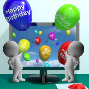 Free Stock Photo of Balloons Greeting From Computer Celebrates Happy Birthday